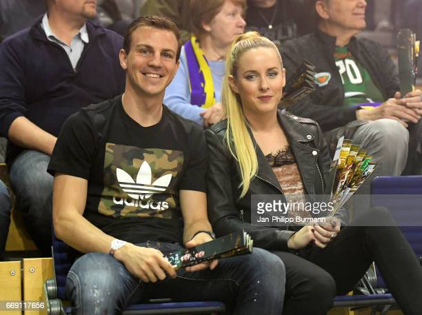 Vladimir Darida of Hertha BSC with his girlfriend Katerina Trejbalova during the game between Fuechse Berlin against SG FlensburgHandewitt on...