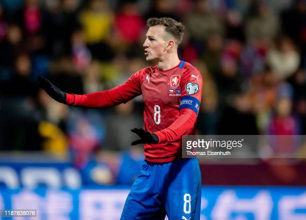 Vladimir Darida of the Czech Republic reacts during the UEFA Euro 2020 Qualifier between Czech Republic and Kosovo on November 14, 2019 at Doosan...