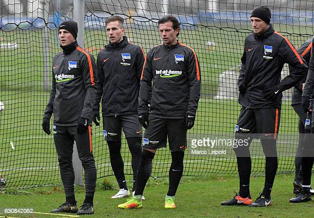 Vladimir Darida Peter Pekarik Valentin Stocker and Niklas Stark of Hertha BSC during the first training of the year on January 3 2017 in Berlin...