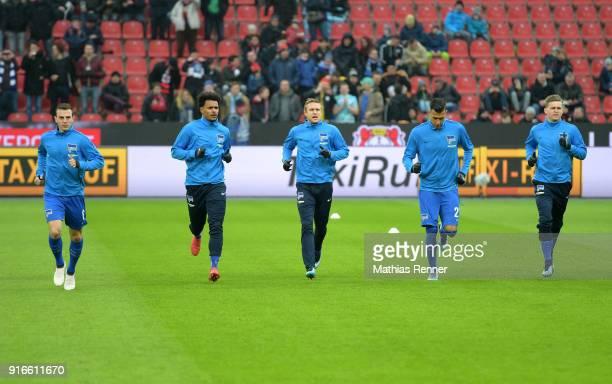 Vladimir Darida Valentino Lazaro Per Skjelbred Davie Selke and Maximilian Mittelstaedt of Hertha BSC before the first Bundeliga game between Bayer 04...