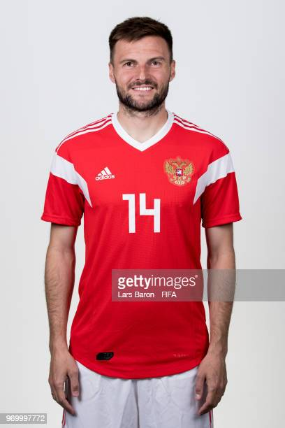 Vladimir Granat of Russia poses for a portrait during the official FIFA World Cup 2018 portrait session at Federal Sports Centre Novogorsk on June 8...
