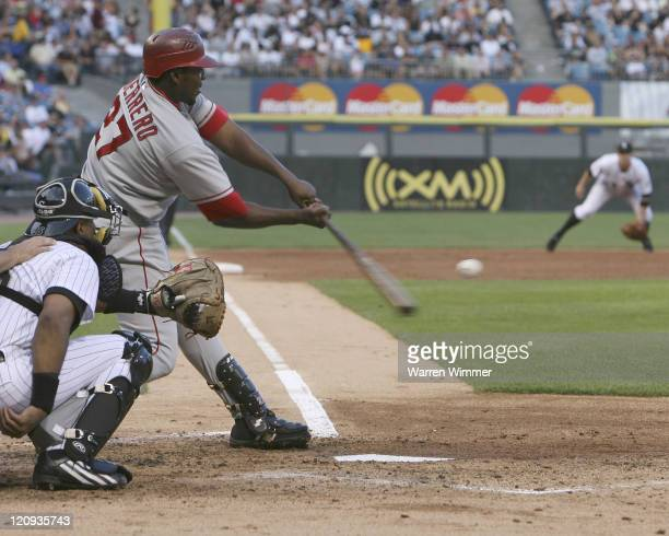 Vladimir Guerrero hitting a Mark Buehrle pitch during Los Angeles Angels of Anaheim vs Chicago White Sox game on August 7 2006 at US Cellular Field...