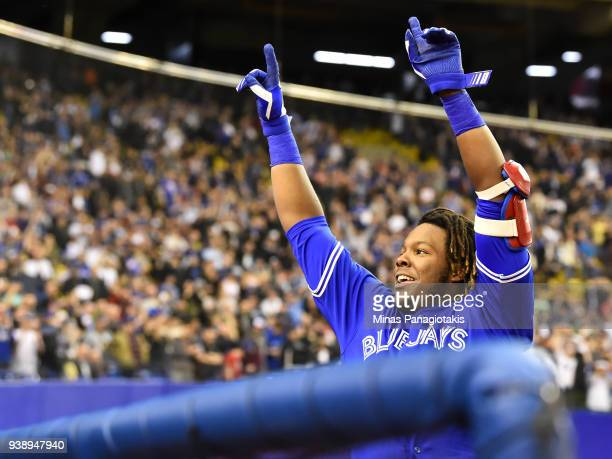 Vladimir Guerrero Jr #27 of the Toronto Blue Jays acknowledges the fans after hitting a home run in the bottom of the ninth against the St Louis...