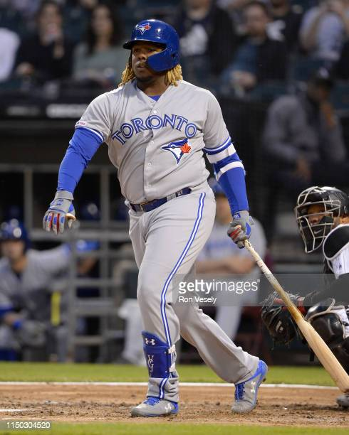 Vladimir Guerrero Jr #27 of the Toronto Blue Jays bats against the Chicago White Sox on May 16 2019 at Guaranteed Rate Field in Chicago Illinois