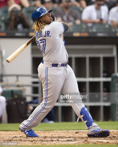 Vladimir Guerrero Jr #27 of the Toronto Blue Jays bats against the Chicago White Sox on May 19 2019 at Guaranteed Rate Field in Chicago Illinois