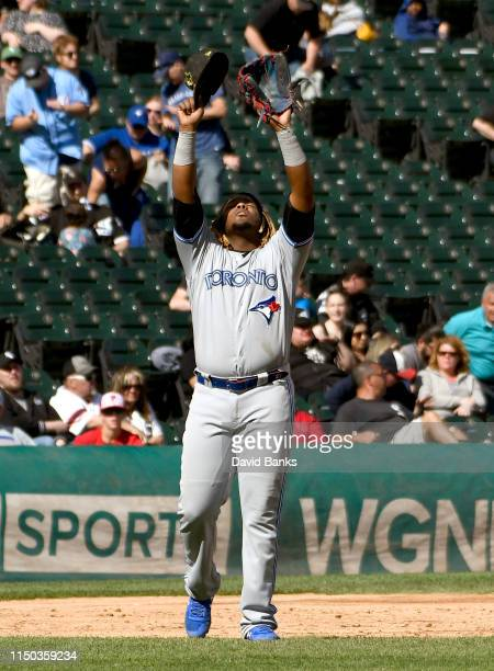 Vladimir Guerrero Jr #27 of the Toronto Blue Jays gestures after the Blue Jays defeated the Chicago White Sox 52 at Guaranteed Rate Field on May 19...
