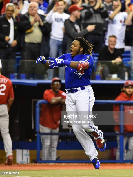 Vladimir Guerrero Jr #27 of the Toronto Blue Jays runs the bases after hitting a home run in the bottom of the ninth inning against the St Louis...