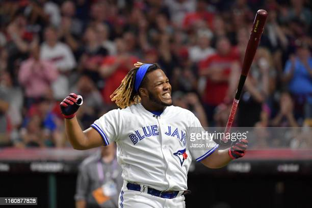 Vladimir Guerrero Jr of the Toronto Blue Jays reacts during the TMobile Home Run Derby at Progressive Field on July 08 2019 in Cleveland Ohio