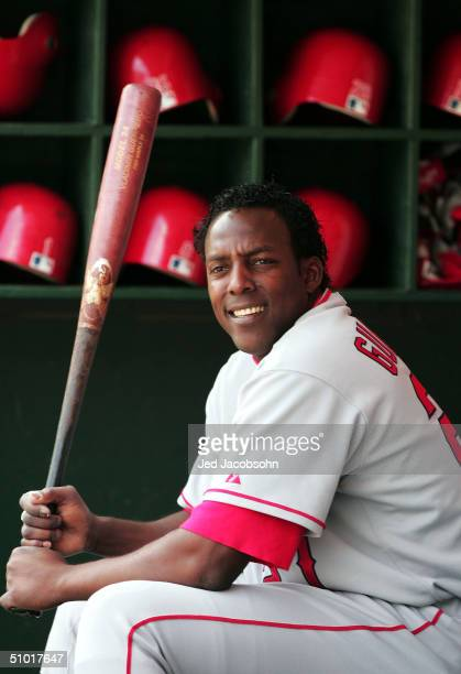 Vladimir Guerrero of Anaheim Angels looks on against the Oakland Athletics during an MLB game at the Network Associates Coliseum on July 1 2004 in...