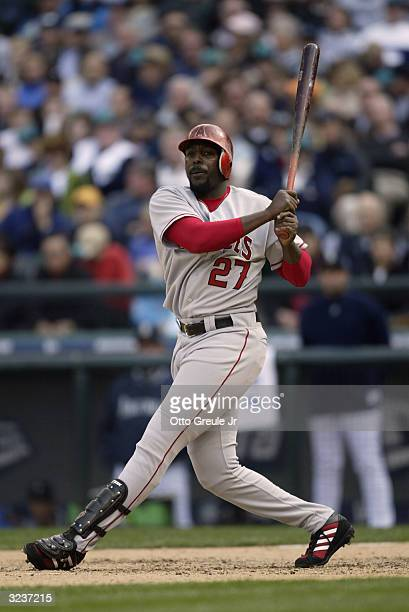Vladimir Guerrero of the Anaheim Angels bats against the Seattle Mariners on April 6 2004 at Safeco Field in Seattle Washington
