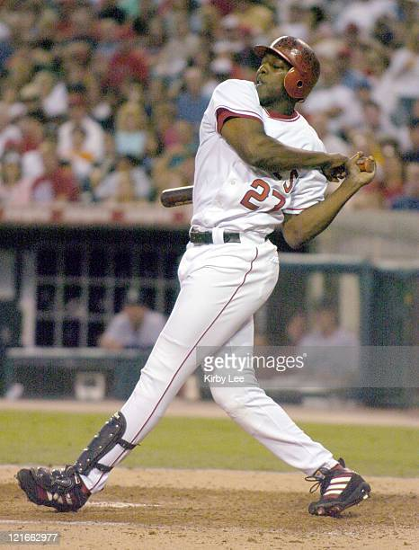 Vladimir Guerrero of the Anaheim Angels bats during 65 victory over the Seattle Mariners at Angel Stadium