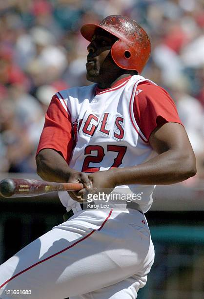 Vladimir Guerrero of the Anaheim Angels during 32 victory over the Seattle Mariners at Angel Stadium on Sunday August 1 2004