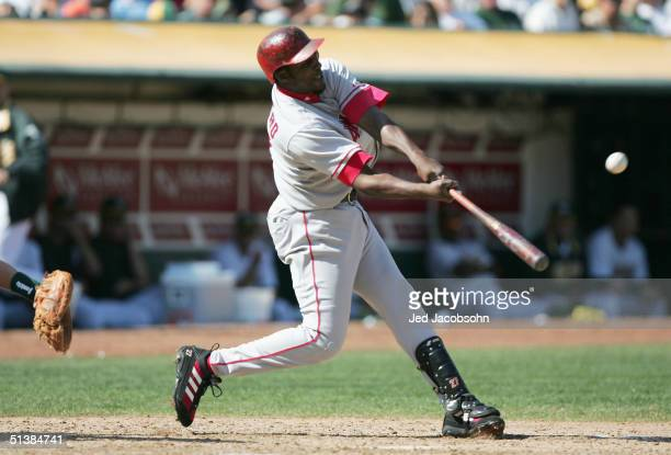 Vladimir Guerrero of the Anaheim Angels hits a home run in the sixth inning against the Oakland Athletics on October 2 2004 at the Network Associates...