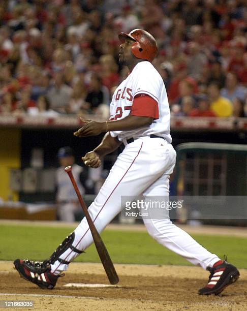 Vladimir Guerrero of the Anaheim Angels hits a threerun home run in the fifth inning of 94 victory over the Kansas City Royals at Angel Stadium in...