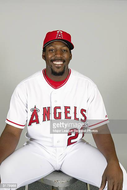 Vladimir Guerrero of the Anaheim Angels poses for a portrait on February 26 2004 in Tempe Arizona