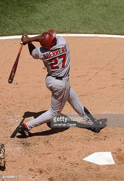 Vladimir Guerrero of the Anaheim Angels swings at the pitch during the game against the Chicago White Sox on July 8 2004 at US Cellular Field in...