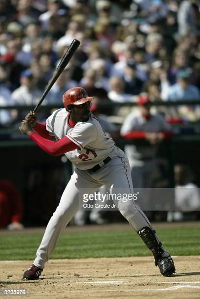 Vladimir Guerrero of the Anaheim Angels takes his first atbat against the Seattle Mariners on April 6 2004 at Safeco Field in Seattle Washington He...