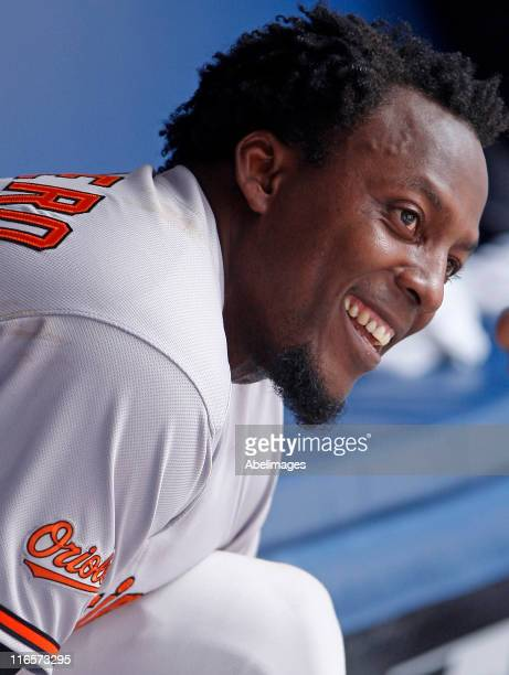 Vladimir Guerrero of the Baltimore Orioles celebrates his 2500th hit during MLB action against the Toronto Blue Jays at The Rogers Centre June 16,...