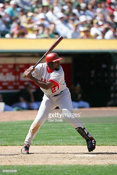 April 17: Vladimir Guerrero of the Los Angeles Angels bats during the game against the Oakland Athletics at McAfee Coliseum on April 17, 2005 in...