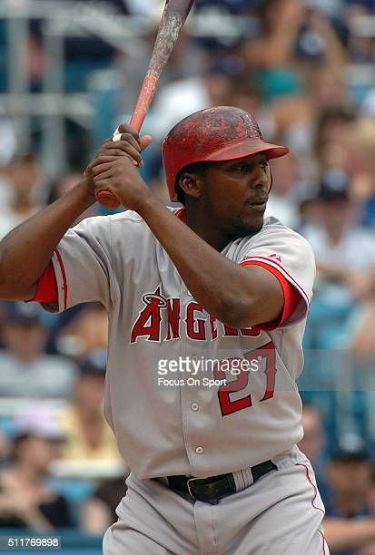 Vladimir Guerrero of the Los Angeles Angels of Anaheim bats against the New York Yankees during a Major League Baseball game August 21 2004 at Yankee...