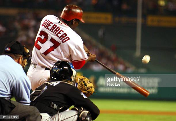 Vladimir Guerrero of the Los Angeles Angels of Anaheim bats during 41 loss to the Toronto Blue Jays at Angel Stadium in Anaheim Calif on Wednesday...