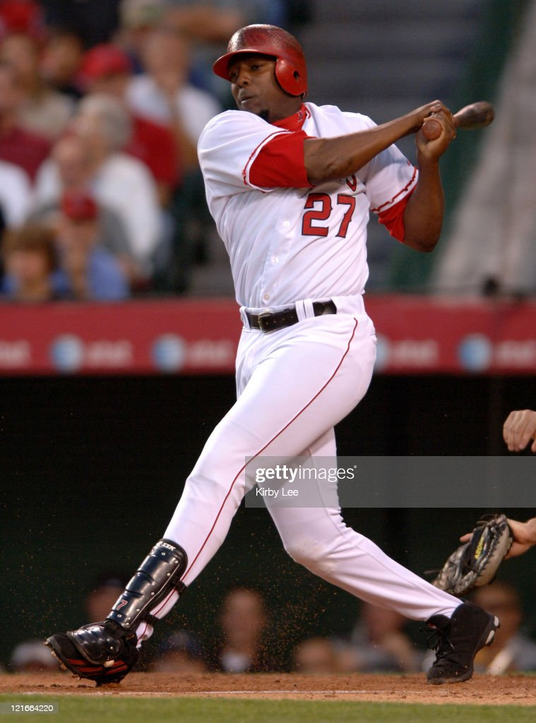 Vladimir Guerrero of the Los Angeles Angels of Anaheim bats during 4-3 victory over the Kansas City Royals at Angel Stadium in Anaheim, Calif. on Monday, June 12, 2006.