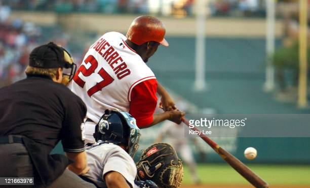 Vladimir Guerrero of the Los Angeles Angels of Anaheim bats during 63 loss to the Seattle Mariners at Angel Stadium in Anaheim Calif on Saturday July...