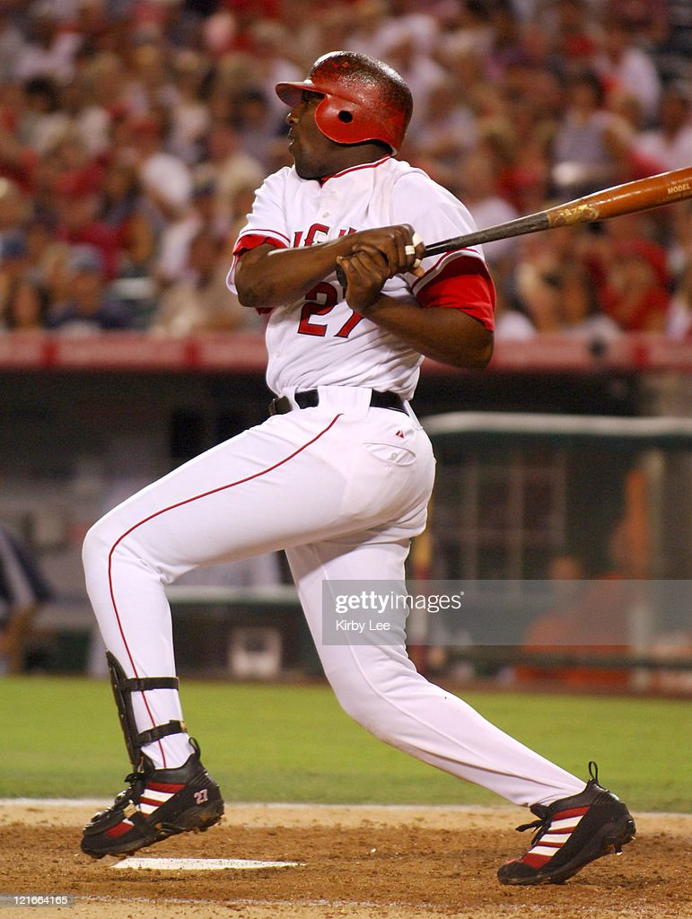 Vladimir Guerrero of the Los Angeles Angels of Anaheim bats during 6-3 loss to the Seattle Mariners at Angel Stadium in Anaheim, Calif. on Saturday, Sept. 3, 2005.