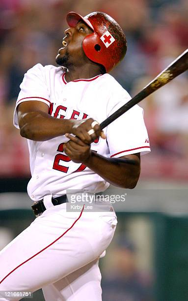Vladimir Guerrero of the Los Angeles Angels of Anaheim bats during 74 victory over the Texas Rangers at Angel Stadium in Anaheim Calif on Thursday...