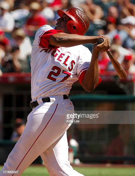 Vladimir Guerrero of the Los Angeles Angels of Anaheim bats during 84 victory over the Baltimore Orioles at Angel Stadium in Anaheim Calif on...