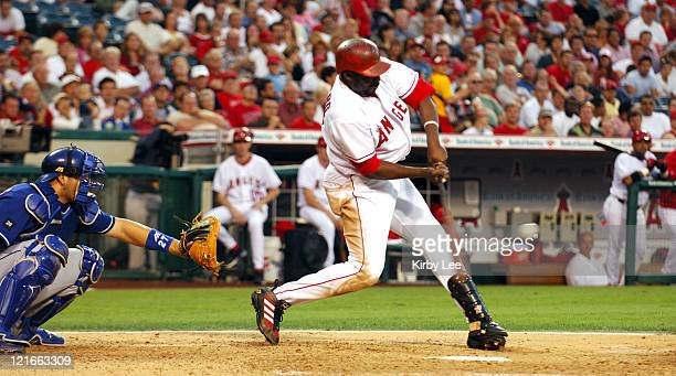Vladimir Guerrero of the Los Angeles Angels of Anaheim bats during 86 victory over the Texas Rangers at Angel Stadium in Anaheim Calif on Tuesday...