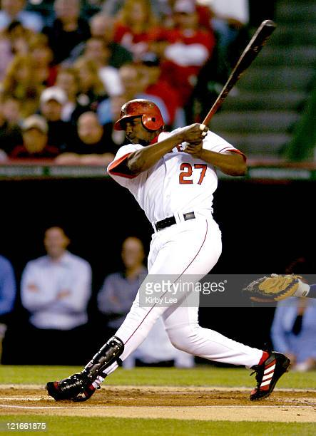 Vladimir Guerrero of the Los Angeles Angels of Anaheim bats during a 20 victory over the Cleveland Indians at Angel Stadium in Anaheim California on...