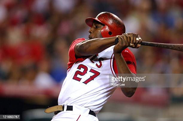 Vladimir Guerrero of the Los Angeles Angels of Anaheim bats during a 86 victory over the New York Yankees at Angel Stadium in Anaheim Calif on...