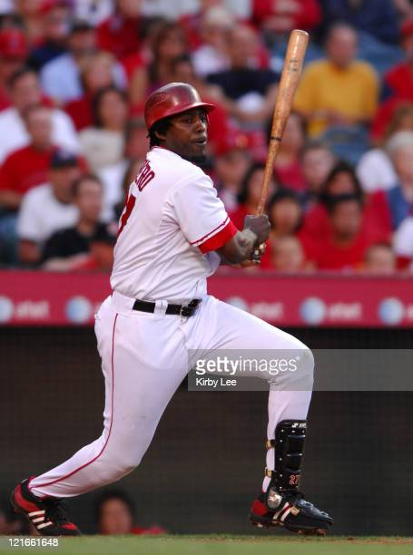 Vladimir Guerrero of the Los Angeles Angels of Anaheim bats during 125 loss to the Seattle Mariners in Major League Baseball game in Anaheim Calif on...