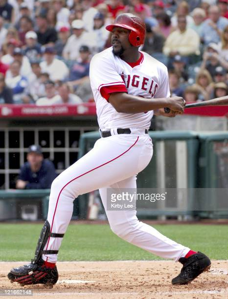 Vladimir Guerrero of the Los Angeles Angels of Anaheim during 101 loss to the New York Yankees at Angel Stadium in Anaheim Calif on Sunday April 9...