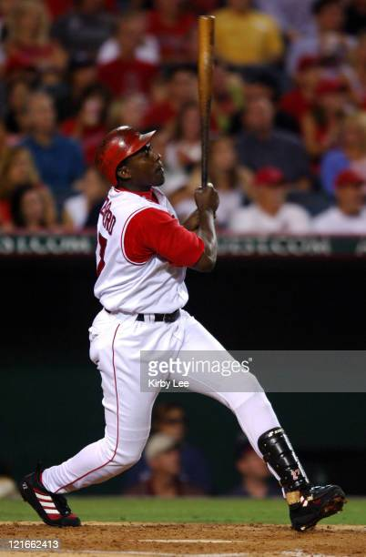 Vladimir Guerrero of the Los Angeles Angels of Anaheim hits a threerun home run for his 18th homer of the season in the third inning of a 86 victory...