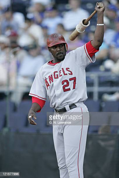 Vladimir Guerrero of the Los Angeles Angels of Anaheim in the ondeck circle during a game against the Kansas City Royals at Kauffman Stadium in...