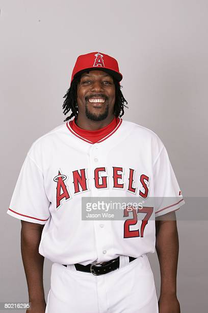 Vladimir Guerrero of the Los Angeles Angels of Anaheim poses for a portrait during photo day at Tempe Diablo Stadium on February 22 2008 in Tempe...