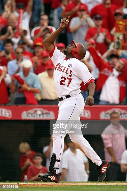Vladimir Guerrero of the Los Angeles Angels of Anaheim reacts after hitting a two run home run off Andy Pettitte of the New York Yankees during the...