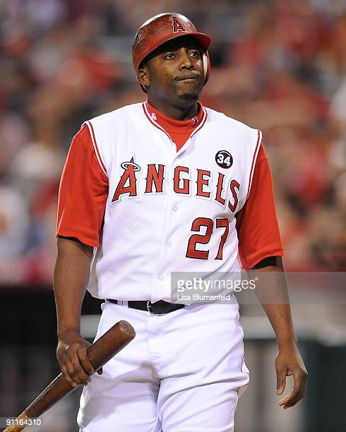 Vladimir Guerrero of the Los Angeles Angels of Anaheim reacts during the game against the Oakland Athletics at Angel Stadium of Anaheim on September...