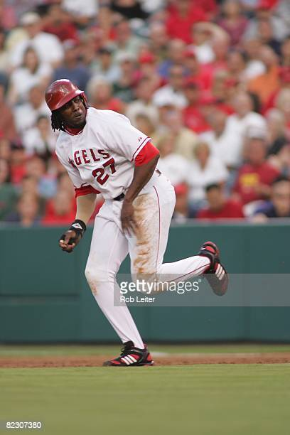 July 18: Vladimir Guerrero of the Los Angeles Angels of Anaheim runs to second base during the game against the Boston Red Sox at Angel Stadium in...