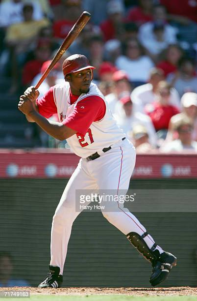 Vladimir Guerrero of the Los Angeles Angels steps into the swing during the game against the Texas Rangers at Angel Stadium on August 5 2005 in...