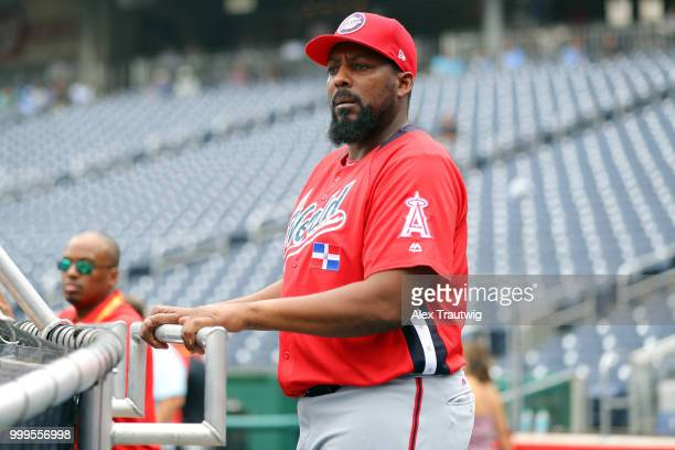 David Ortiz of the World Team takes a selfie during the team photo during batting practice prior to the SiriusXM AllStar Futures Game at Nationals...