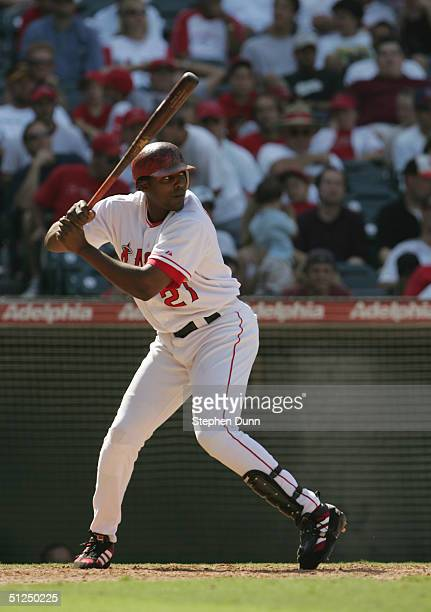 Vladimir Guerrero#27 of the Anaheim Angels steps into the swing during the game against the Baltimore Orioles on August 12 2004 at Angel Stadium in...