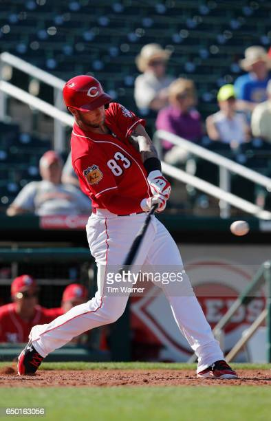 Vladimir Gutierrez of the Cincinnati Reds bats against the Los Angeles Angels during the spring training game at Goodyear Ballpark on March 8 2017 in...