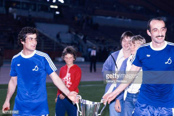 Vladimir Gutsaev and David Kipiani of Dinamo Tbilisi celebrate his victory during the Cup Winners Cup Final between Carl Zeiss Jena and Dinamo...