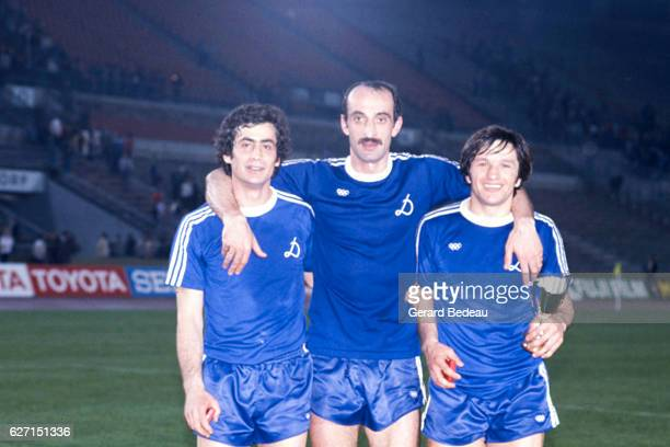 Vladimir Gutsaev David Kipiani and Zaur Svanadze of Dinamo Tbilisi celebrate his victory during the Cup Winners Cup Final between Carl Zeiss Jena and...