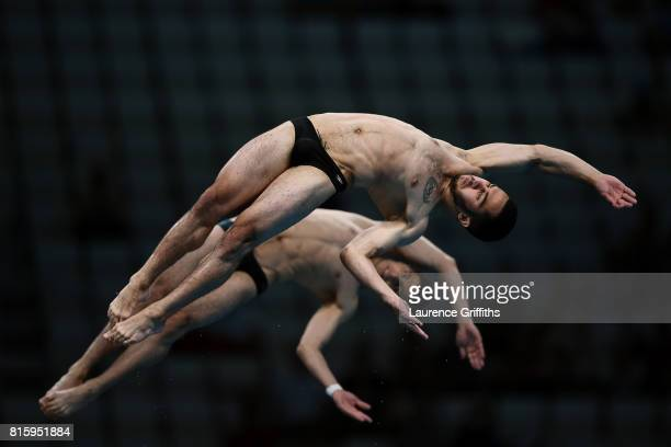 Vladimir Harutyunyan and Lev Sargsyan of Armenia compete during the Men's Diving 10M Synchro Platform preliminary round on day four of the Budapest...