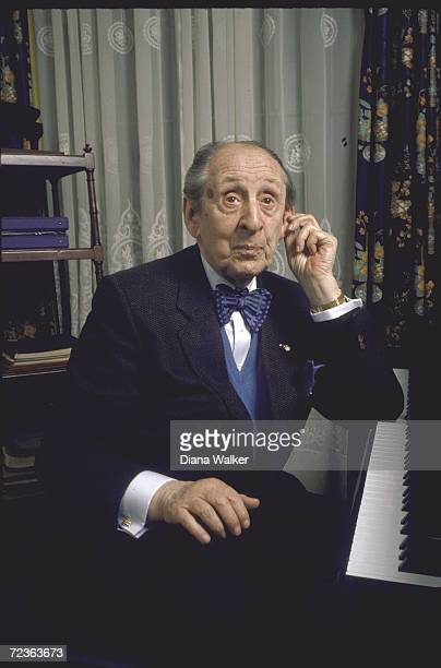 Vladimir Horowitz at piano at his home.