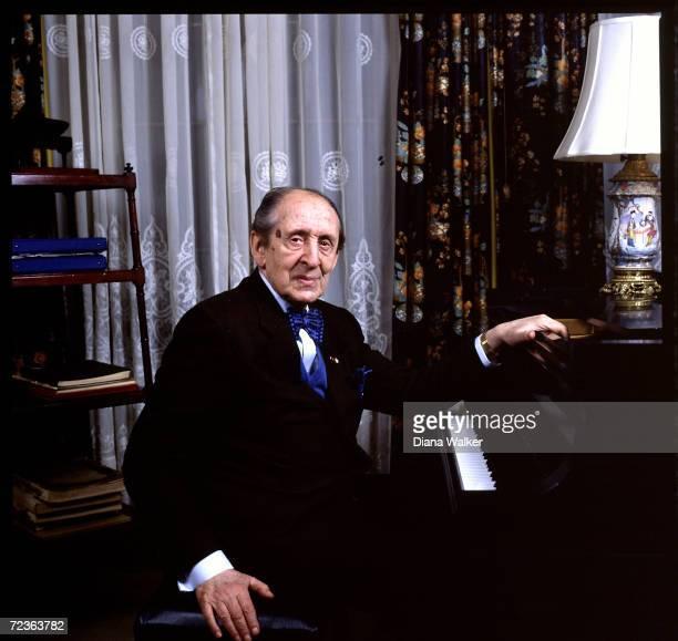Vladimir Horowitz at piano at his home